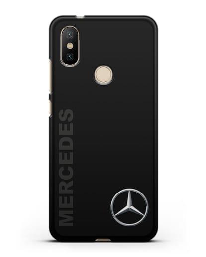 Чехол с надписью Mercedes и логотипом силикон черный для Xiaomi Mi A2