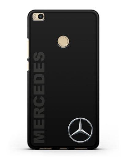 Чехол с надписью Mercedes и логотипом силикон черный для Xiaomi Mi Max 2