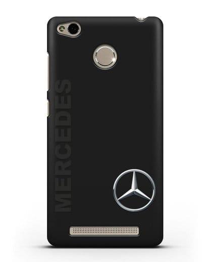 Чехол с надписью Mercedes и логотипом силикон черный для Xiaomi Redmi 3s