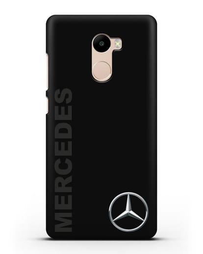 Чехол с надписью Mercedes и логотипом силикон черный для Xiaomi Redmi 4