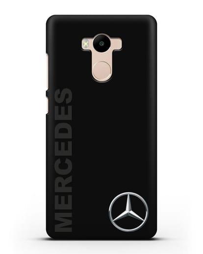 Чехол с надписью Mercedes и логотипом силикон черный для Xiaomi Redmi 4 Pro