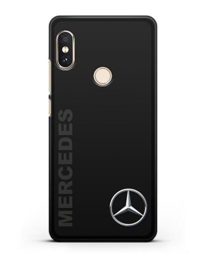 Чехол с надписью Mercedes и логотипом силикон черный для Xiaomi Redmi 6 Pro