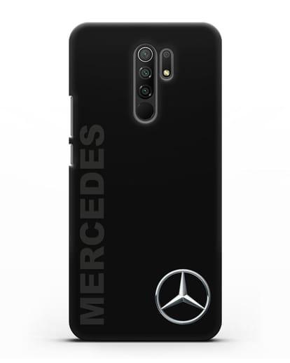 Чехол с надписью Mercedes и логотипом силикон черный для Xiaomi Redmi 9