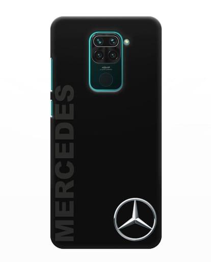Чехол с надписью Mercedes и логотипом силикон черный для Xiaomi Redmi Note 9