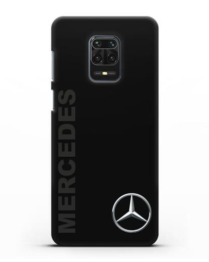 Чехол с надписью Mercedes и логотипом силикон черный для Xiaomi Redmi Note 9 Pro