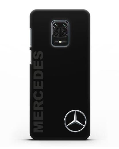 Чехол с надписью Mercedes и логотипом силикон черный для Xiaomi Redmi Note 9S