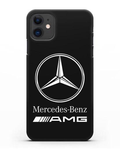 Чехол с логотипом Mercedes Benz AMG силикон черный для iPhone 11