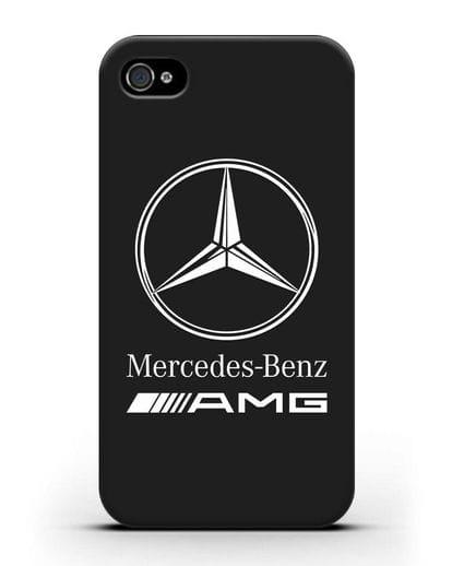Чехол с логотипом Mercedes Benz AMG силикон черный для iPhone 4/4s