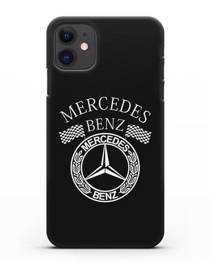 Чехол с надписью и логотипом Мерседес Бенц силикон черный для iPhone 11