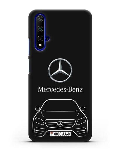 Чехол Mercedes Benz E-класс с автомобильным номером силикон черный для Honor 20