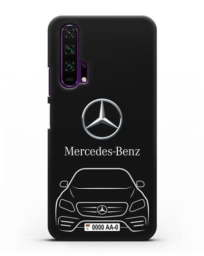 Чехол Mercedes Benz E-класс с автомобильным номером силикон черный для Honor 20 Pro