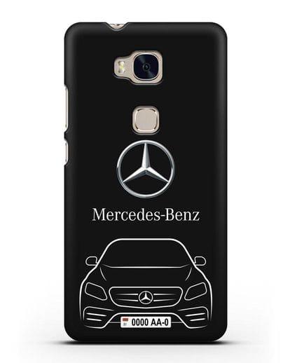 Чехол Mercedes Benz E-класс с автомобильным номером силикон черный для Honor 5X