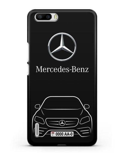 Чехол Mercedes Benz E-класс с автомобильным номером силикон черный для Honor 6 Plus