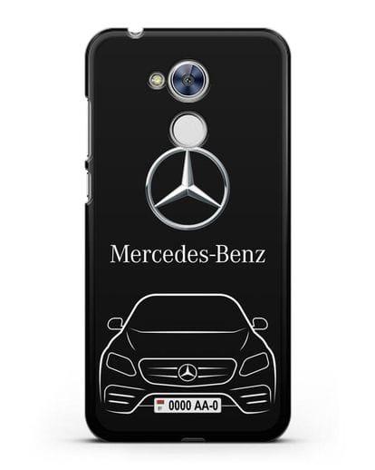Чехол Mercedes Benz E-класс с автомобильным номером силикон черный для Honor 6A