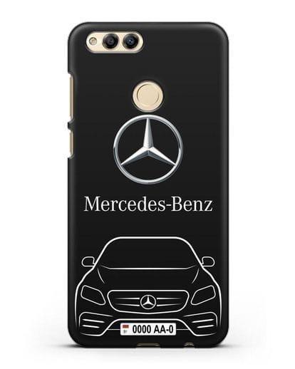 Чехол Mercedes Benz E-класс с автомобильным номером силикон черный для Honor 7X