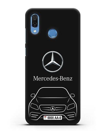Чехол Mercedes Benz E-класс с автомобильным номером силикон черный для Honor Play