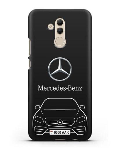 Чехол Mercedes Benz E-класс с автомобильным номером силикон черный для Huawei Mate 20 Lite