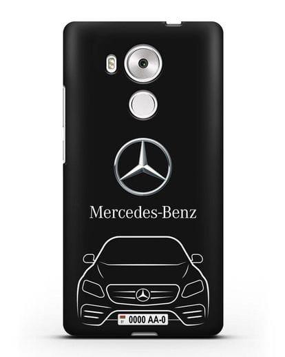 Чехол Mercedes Benz E-класс с автомобильным номером силикон черный для Huawei Mate 8
