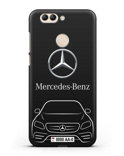 Чехол Mercedes Benz E-класс с автомобильным номером силикон черный для Huawei Nova 2 Plus