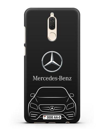 Чехол Mercedes Benz E-класс с автомобильным номером силикон черный для Huawei Nova 2