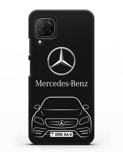 Чехол Mercedes Benz E-класс с автомобильным номером силикон черный для Huawei Nova 7i