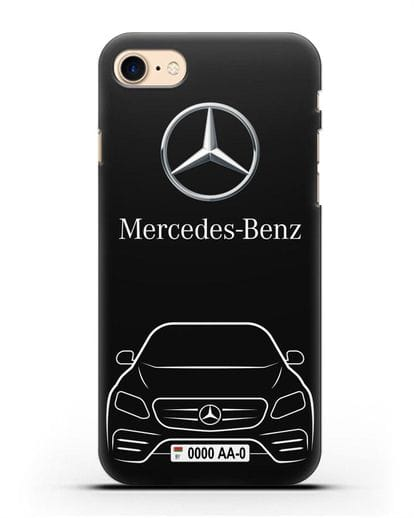 Чехол Mercedes Benz E-класс с автомобильным номером силикон черный для iPhone SE 2020