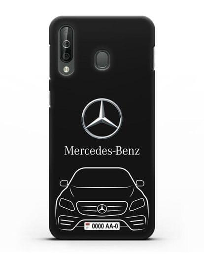 Чехол Mercedes Benz E-класс с автомобильным номером силикон черный для Samsung Galaxy A40s [SM-A507FN]