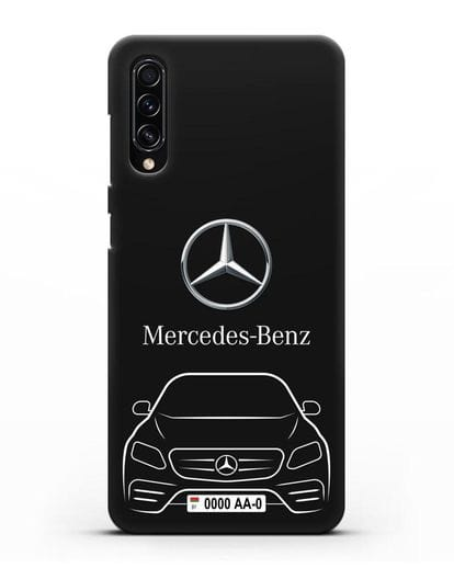 Чехол Mercedes Benz E-класс с автомобильным номером силикон черный для Samsung Galaxy A70s [SM-A707F]