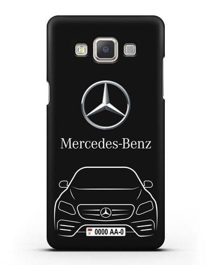 Чехол Mercedes Benz E-класс с автомобильным номером силикон черный для Samsung Galaxy A7 2015 [SM-A700F]