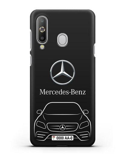 Чехол Mercedes Benz E-класс с автомобильным номером силикон черный для Samsung Galaxy A8s [SM-G8870]