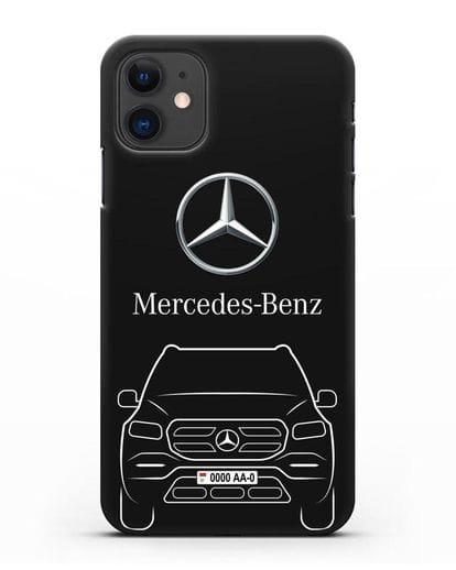 Чехол Mercedes Benz GL-класс с автомобильным номером силикон черный для iPhone 11