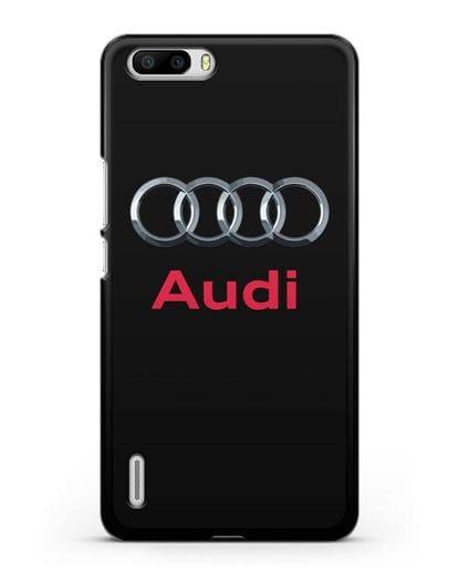 Чехол с логотипом Audi силикон черный для Honor 6 Plus
