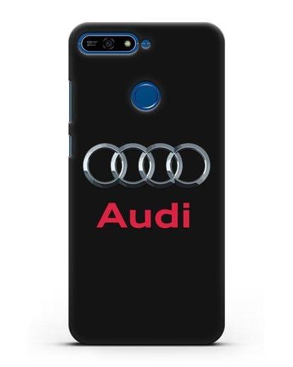 Чехол с логотипом Audi силикон черный для Honor 7А Pro