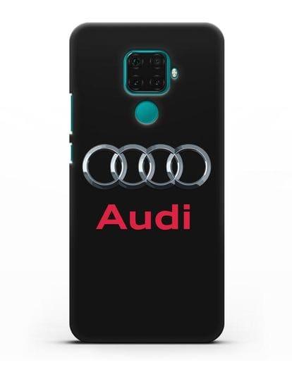Чехол с логотипом Audi силикон черный для Huawei Mate 30 Lite