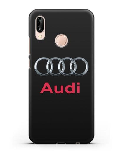 Чехол с логотипом Audi силикон черный для Huawei P20 Lite