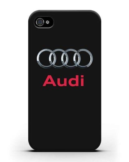 Чехол с логотипом Audi силикон черный для iPhone 4/4s