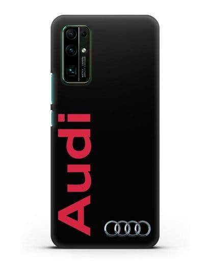 Чехол с надписью Audi и логотипом силикон черный для Honor 30