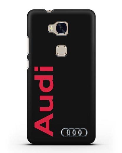 Чехол с надписью Audi и логотипом силикон черный для Honor 5X