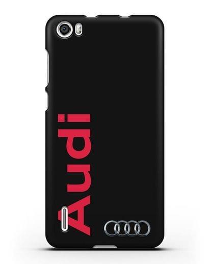 Чехол с надписью Audi и логотипом силикон черный для Honor 6