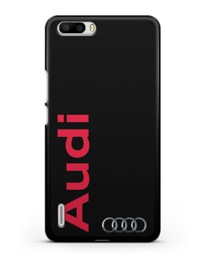 Чехол с надписью Audi и логотипом силикон черный для Honor 6 Plus