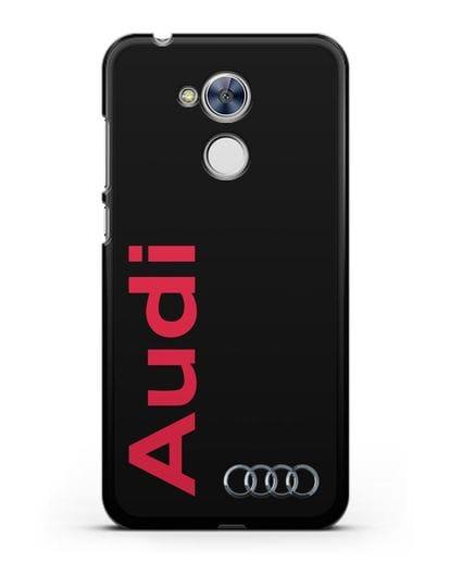 Чехол с надписью Audi и логотипом силикон черный для Honor 6A
