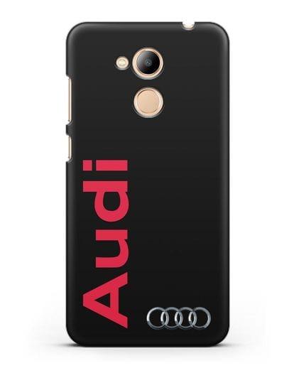 Чехол с надписью Audi и логотипом силикон черный для Honor 6C Pro