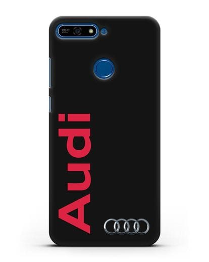 Чехол с надписью Audi и логотипом силикон черный для Honor 7А Pro