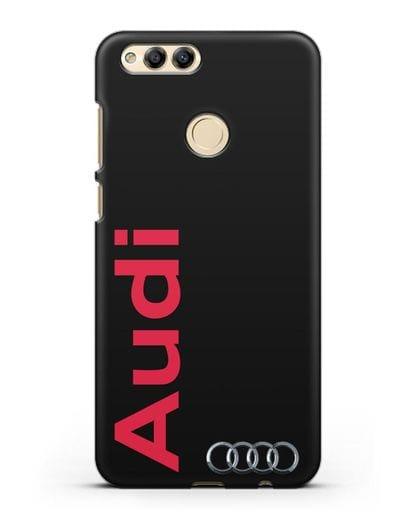 Чехол с надписью Audi и логотипом силикон черный для Honor 7X