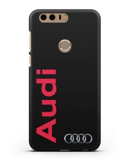 Чехол с надписью Audi и логотипом силикон черный для Honor 8
