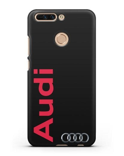 Чехол с надписью Audi и логотипом силикон черный для Honor 8 Pro