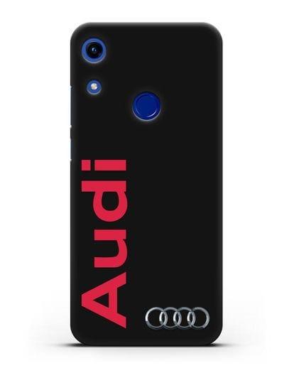 Чехол с надписью Audi и логотипом силикон черный для Honor 8A
