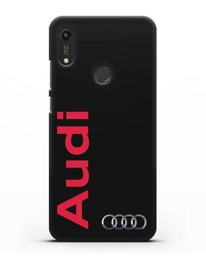 Чехол с надписью Audi и логотипом силикон черный для Honor 8A Prime