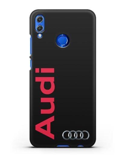 Чехол с надписью Audi и логотипом силикон черный для Honor 8X