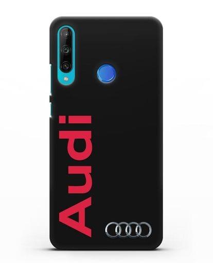 Чехол с надписью Audi и логотипом силикон черный для Honor 9C